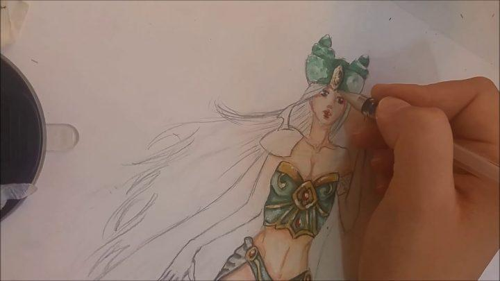 Fashion drawing inspired by Cosplay and anime – high speed painting (water color)