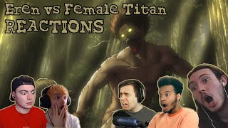 Eren vs Female Titan REACTIONS || Attack on Titan Episode 1×21